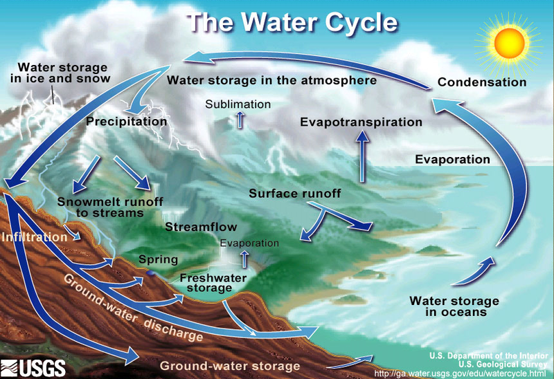 Water on Earth is constantly on the move through the water cycle.